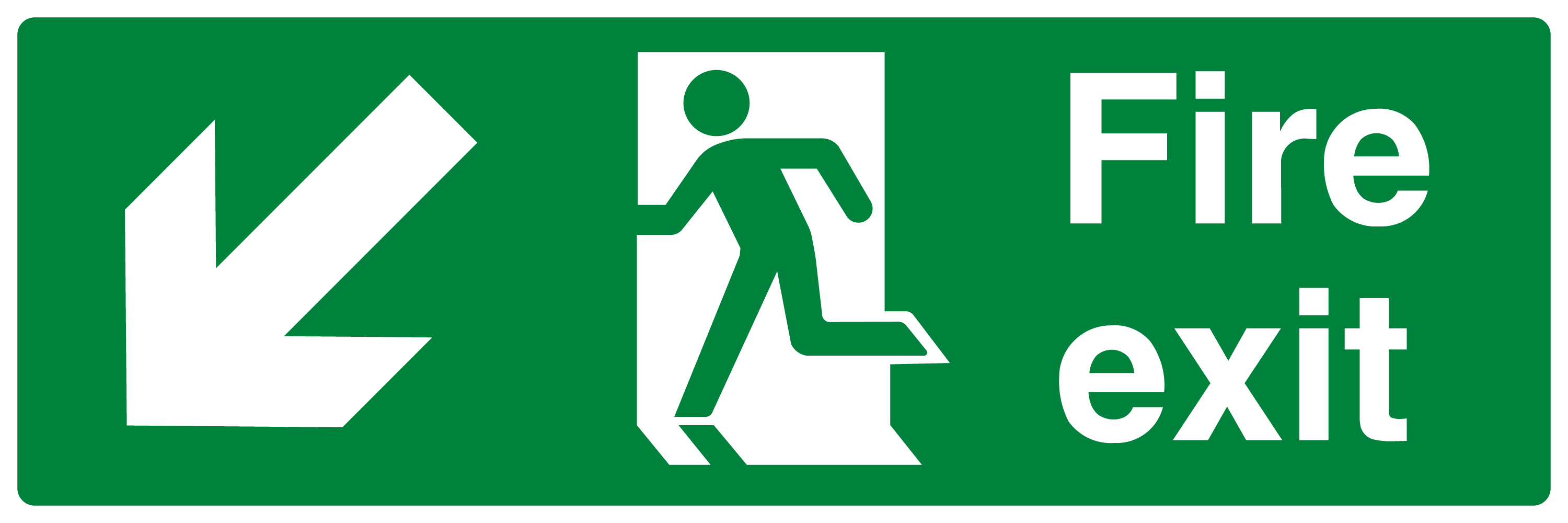 Fire Exit Running Man Arrow Down Left | High Quality Vector
