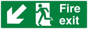 Fire Exit Running Man Arrow Down Left