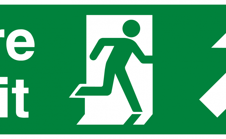 Fire Exit Running Man Arrow Up Right