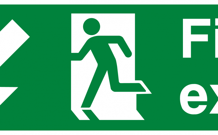 Fire Exit Running Man Arrow Down Left